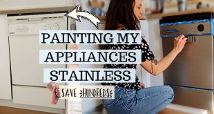 PAINTING MY OLD APPLIANCES WITH STAINLESS STEEL PAINT//how to makeover old appliances for $24