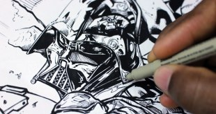 Drawing and Inking Darth Vader - Star Wars - Vader Down Cover from Marvel