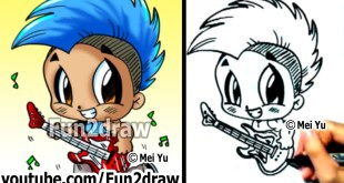 How to Draw Cartoon People - Chibi Rockstar with Guitar and Mohawk - Learn to Draw - Fun2draw