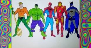 Superheroes Iron man Spiderman  Aquaman Coloring pages Hulk Batman  colors kids
