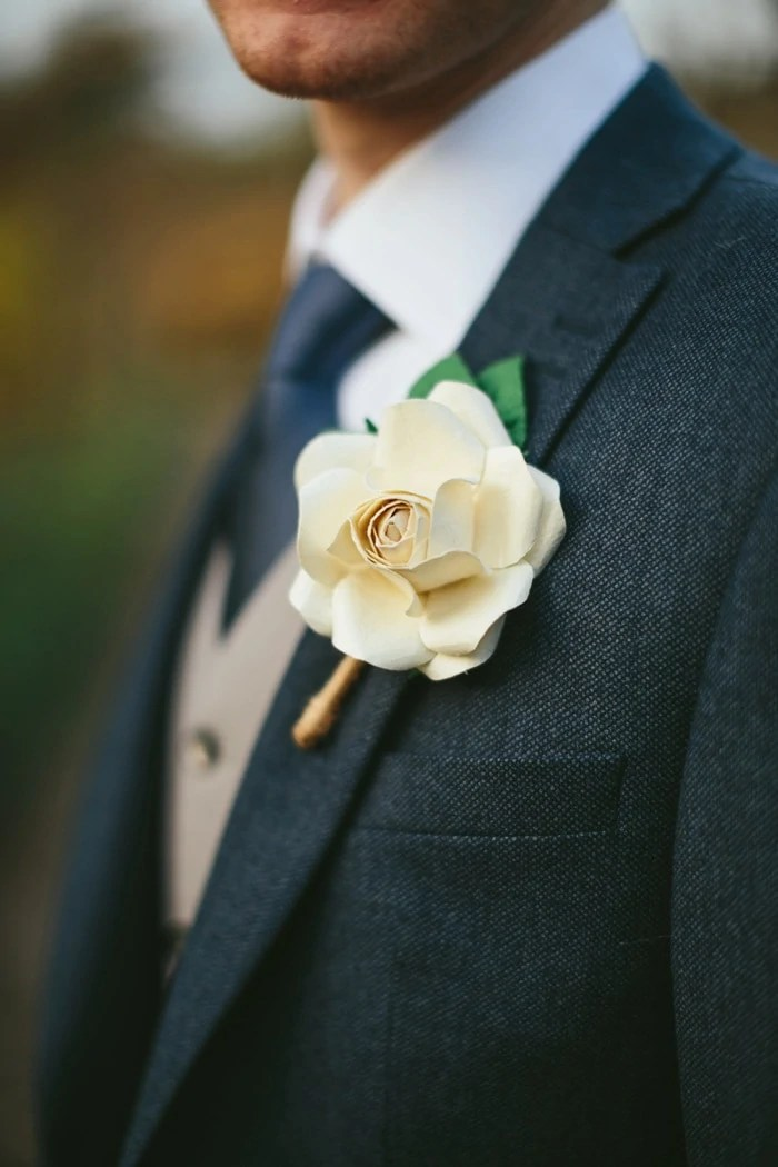 Handmade DIY Buttonhole paper flower for the groom