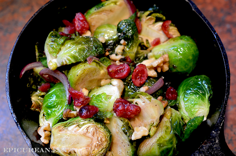 Roasted Brussels Sprouts with Dried Cranberries, Walnuts and Gorgonzola