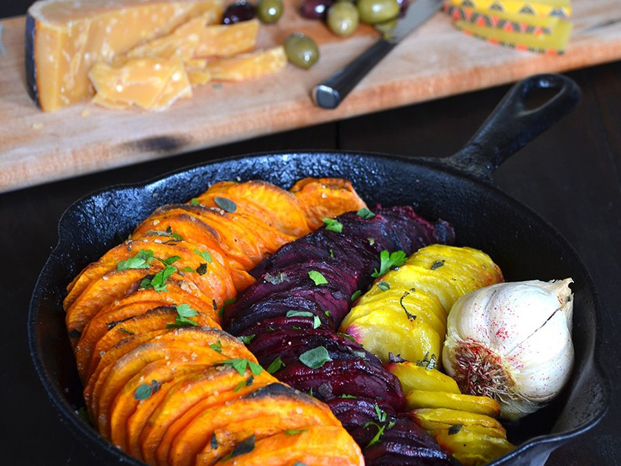 Olive Oil and Salt Roasted Sweet Potatoes & Beets