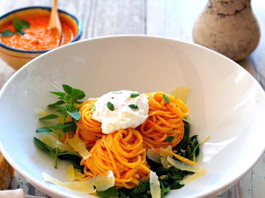 Catalan Romesco Sauce on Fresh Spaghetti