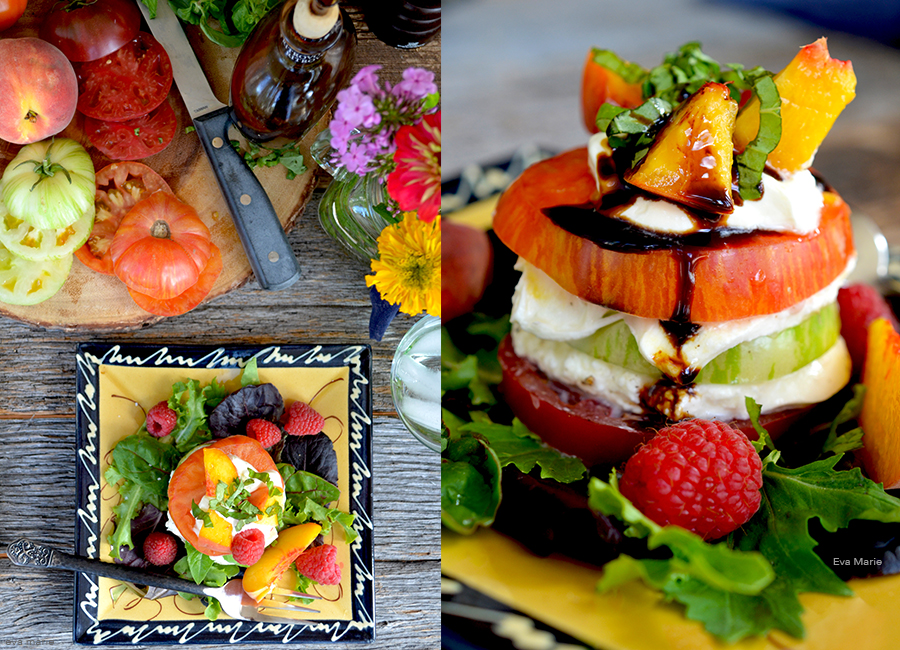 Tomato peach burrata salad