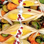 Tamales Nogoda with Chile Roasted Acorn Squash and Brussels Sprouts