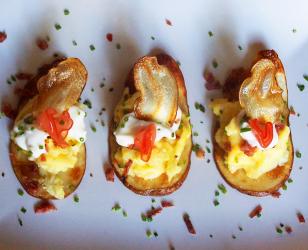 Potato Crostini with Scrambled Egg and Chorizo