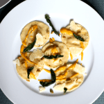 Butternut Squash and Mascarpone Ravioli with Toasted Pumpkin Seeds and Crispy Sage