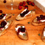 Cranberry Brie and Caper Crostini