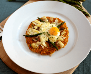 Crispy Potatoes with Egg Asparagus and Cheese