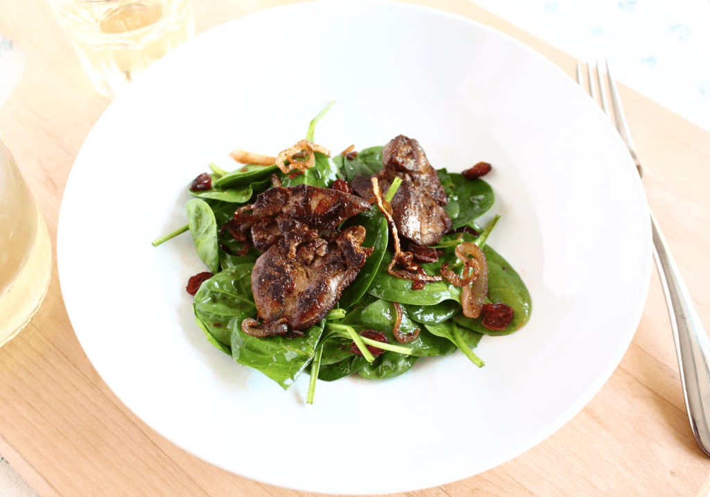 Pan Roasted Chicken Liver and Spinach Salad with Shallots and Dried Cranberries