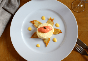 Parmesan and Thyme Custard with Salmon Mousse Pan Roasted Potatoes and a Cayenne Sabayon