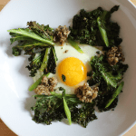 Egg with Crispy Kale and Sautéed Mushrooms