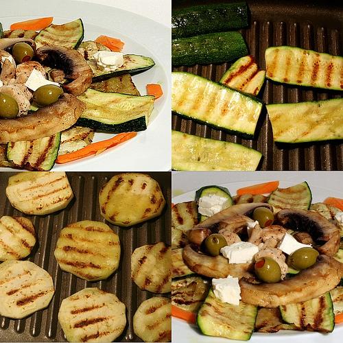 Salade de courgette, aubergine et poulet