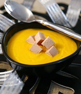 Crème de potiron et foie gras