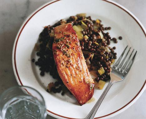 Salmon with Lentils and Mustard-Herb Butter (<em>Saumon aux Lentilles</em>)