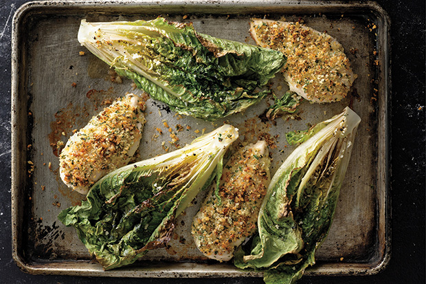 Parmesan Chicken with Caesar Roasted Romaine