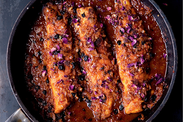 Panfried Sea Bass with Harissa & Rose recipe