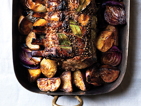 Cider-Brined Pork Roast with Potatoes and Onions recipe