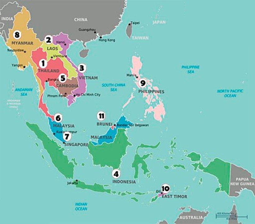 mapa del sudeste asiático