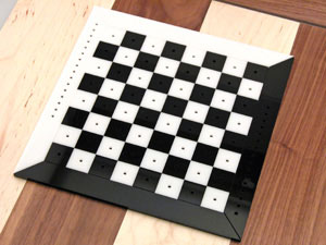 Chess board after laser cutting.