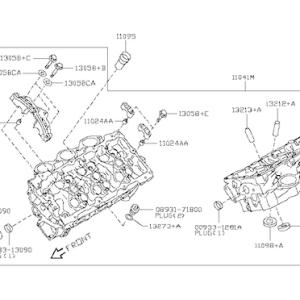 Nissan OEM 11040-JF00A Cylinder Head RH VR38DETT: 2009-2017 Nissan R35 GTR
