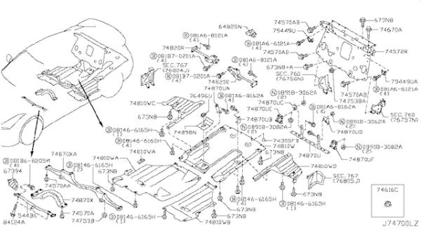Nissan OEM 748A0-KB51A Rear Under Carbon Fiber Diffuser DBA: 2012-2016 Nissan R35 GTR