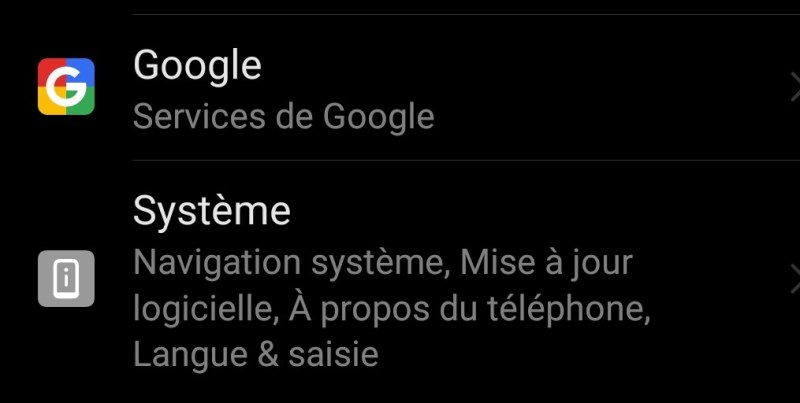 icone google dans parametrage Android