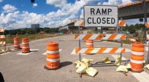 RAMP CLOSED sign, traffic barrels Hwy 212 / Shady Oak Rd