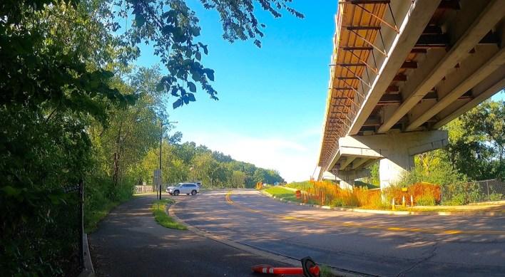 View of light rail bridge over Nine Mile Creek.