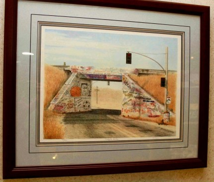 photo of a framed image of the old Gaffiti Bridge