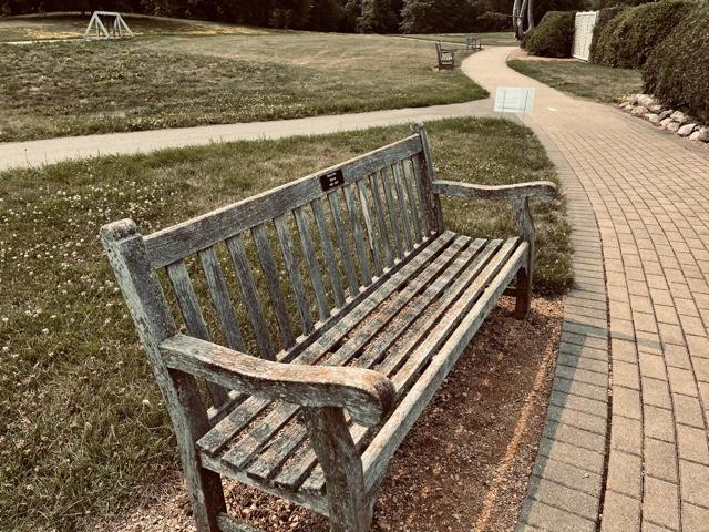 The bench honoring Shreya Dixit in the Minnesota Landscape Arboretum.