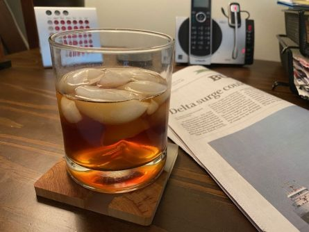Alcohol and newspapers.  Photo by Frank Malley