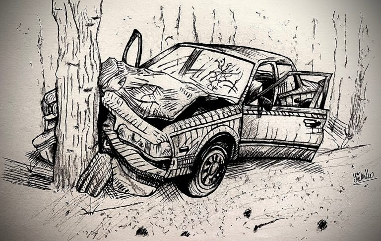 A drawing of a car smashing into a tree.