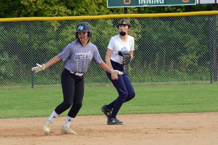 Carli Archuleta led off of second base Sept. 11 in a game against Plymouth Riptide.