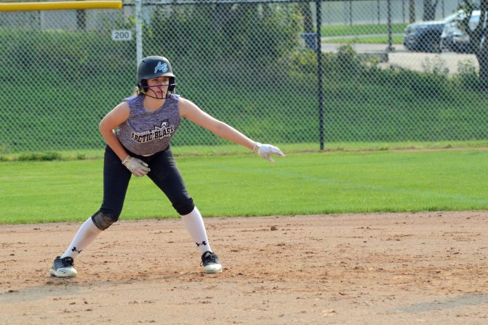 Genna Streed leads off first base during the Mandy Matula Memorial Tournament on Sept. 11, 2021