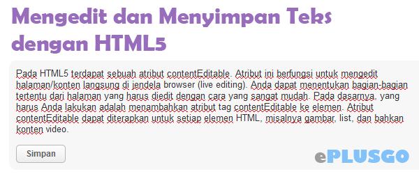 Mengedit dan Menyimpan Teks dengan HTML5