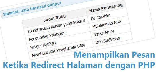 Menampilkan Pesan Ketika Redirect Halaman dengan PHP