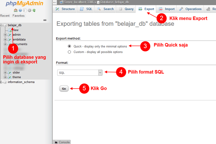 Cara Backup Database MySQL Menggunakan PHPMyAdmin
