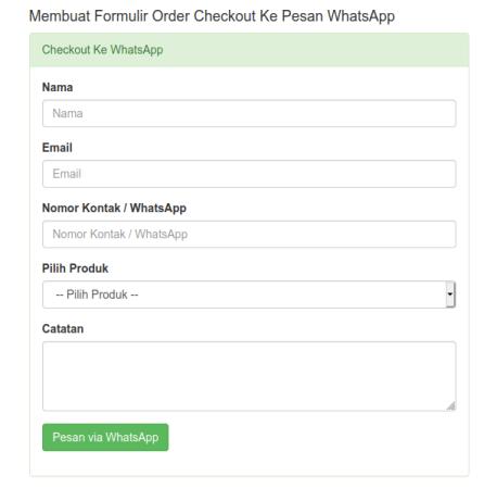 Tampilan Formulir Order Checkout Ke Whatsapp