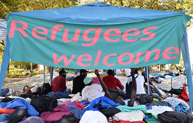 Protest von Flüchtlingen in München. September 2016 Foto: Joerg Koch/Getty Images