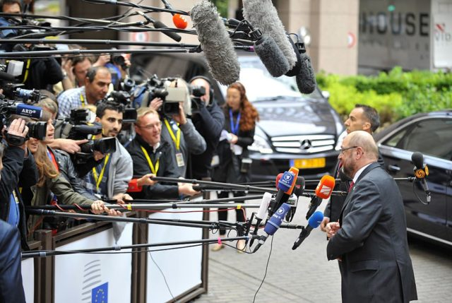 European Parliament President Martin Schulz arrives for a meeting of the leaders of the 19 countries that use the euro currency, in Brussels on July 12, 2015. The EU cancelled a full 28-nation summit today to decide whether Greece stays in the European single currency as a divided eurozone struggled to reach a reform-for-bailout deal. AFP PHOTO / JEAN-CHRISTOPHE VERHAEGEN        (Photo credit should read JEAN-CHRISTOPHE VERHAEGEN/AFP/Getty Images)