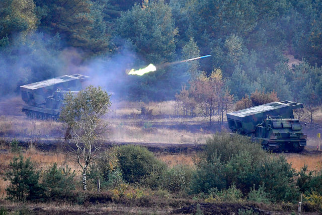 "BERGEN, GERMANY - OCTOBER 14: The multiple Launch Rocket System Mars tank of the German Armed Forces participates in the ""Land Operations"" military exercises during a media day at the Bundeswehr training grounds on October 14, 2016 near Bergen, Germany. The exercises are taking place from October 4-14. Nations across Europe having been strengthening their joint military capabilities and cooperation in recent years as a response to growing Russian military assertion that has included intervention in Ukraine and military flights into European airspace as well as the recent stationing of Iskander nuclear-capable missiles in Kaliningrad. (Photo by Alexander Koerner/Getty Images)"