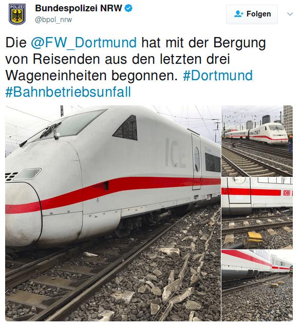 zug entgleist bei Dortmund. Foto: screenshot/https://twitter.com/bpol_nrw/status/859093747166064644