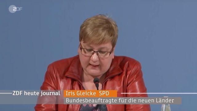 Iris Gleicke, SPD, Bundesbeauftragte für die neuen Länder Foto: Screenshot/Youtube
