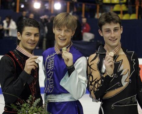 Слева направо: Стефан Ламбьель (Швейцария), Томаш Вернер (Чехия), Брайан Жубер (Франция). Фото:HRVOJE POLAN/AFP/Getty Images