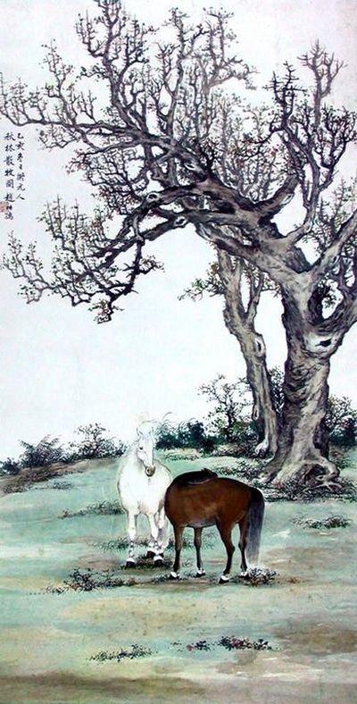 Пасущиеся кони. 1929 г. Художник: Чжао Ши