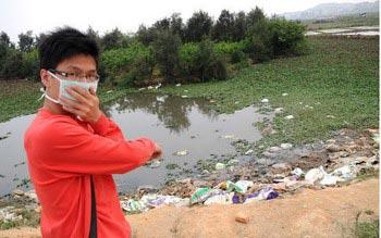 Разлагающиеся туши свиней в кульках. Посёлок Чинчентоу провинции Фуцзянь. Фото с epochtimes.com
