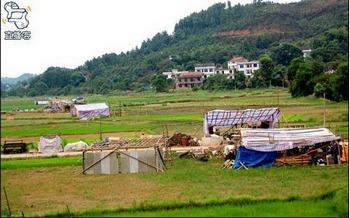 Навесы, в которых живут крестьяне, лишившиеся домов. Посёлок Дяньмэнь провинции Хунань. Фото с epochtimes.com