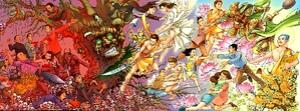 Битва Добра со Злом. Рисунки Го Цзинсюна отражают в стиле комикса ранние работы Иеронима Босха. (С любезного разрешения Го Цзинсюна)